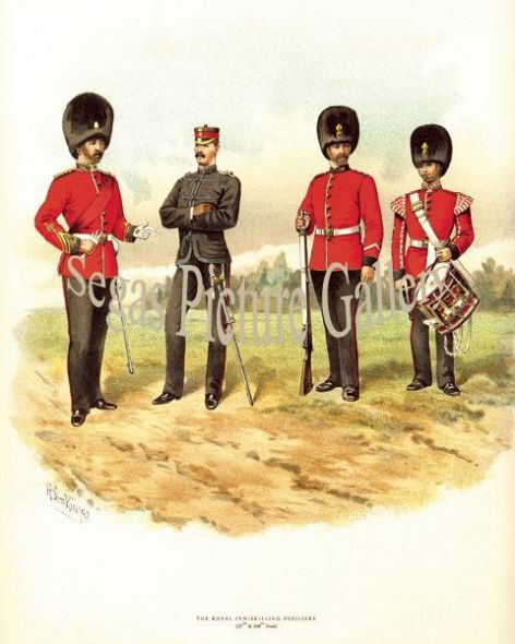 Fine art print of the British Military of The Royal Inniskilling Fusiliers (27th and 108th) by Richard Simkin